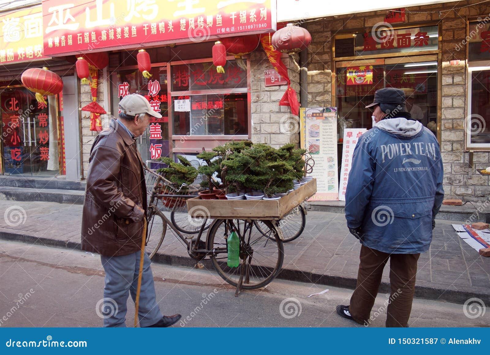 Pekin Chiny, Styczeń, - 10, 2011: mężczyzna sprzedaje bonsai drzewa w ulicie Pekin