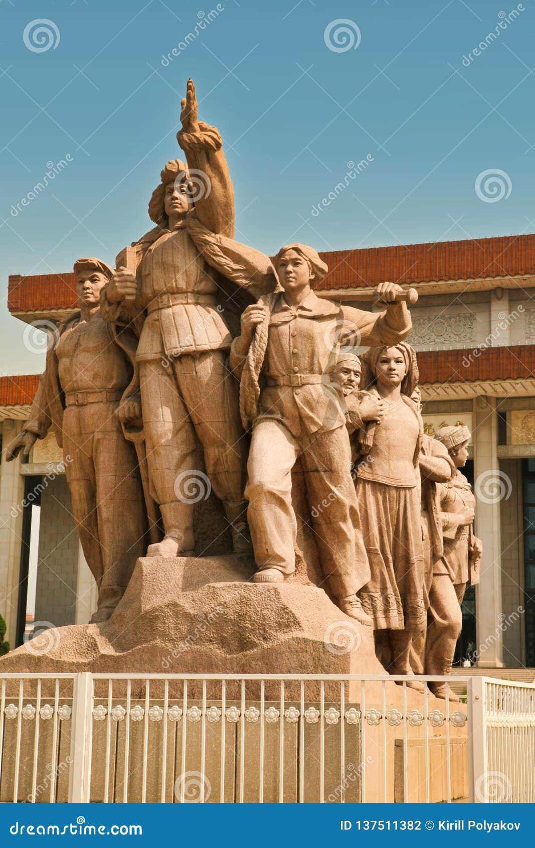 Peking China 06 06 2018 Monument voor het Mausoleum van Mao op Tiananmen-Vierkant