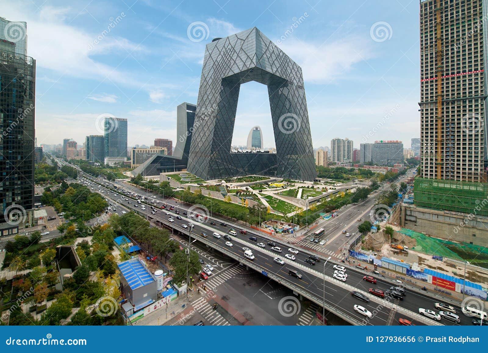 Peking Kina - Oktober 22, 2017: Stad för Peking för Kina ` s, en famo