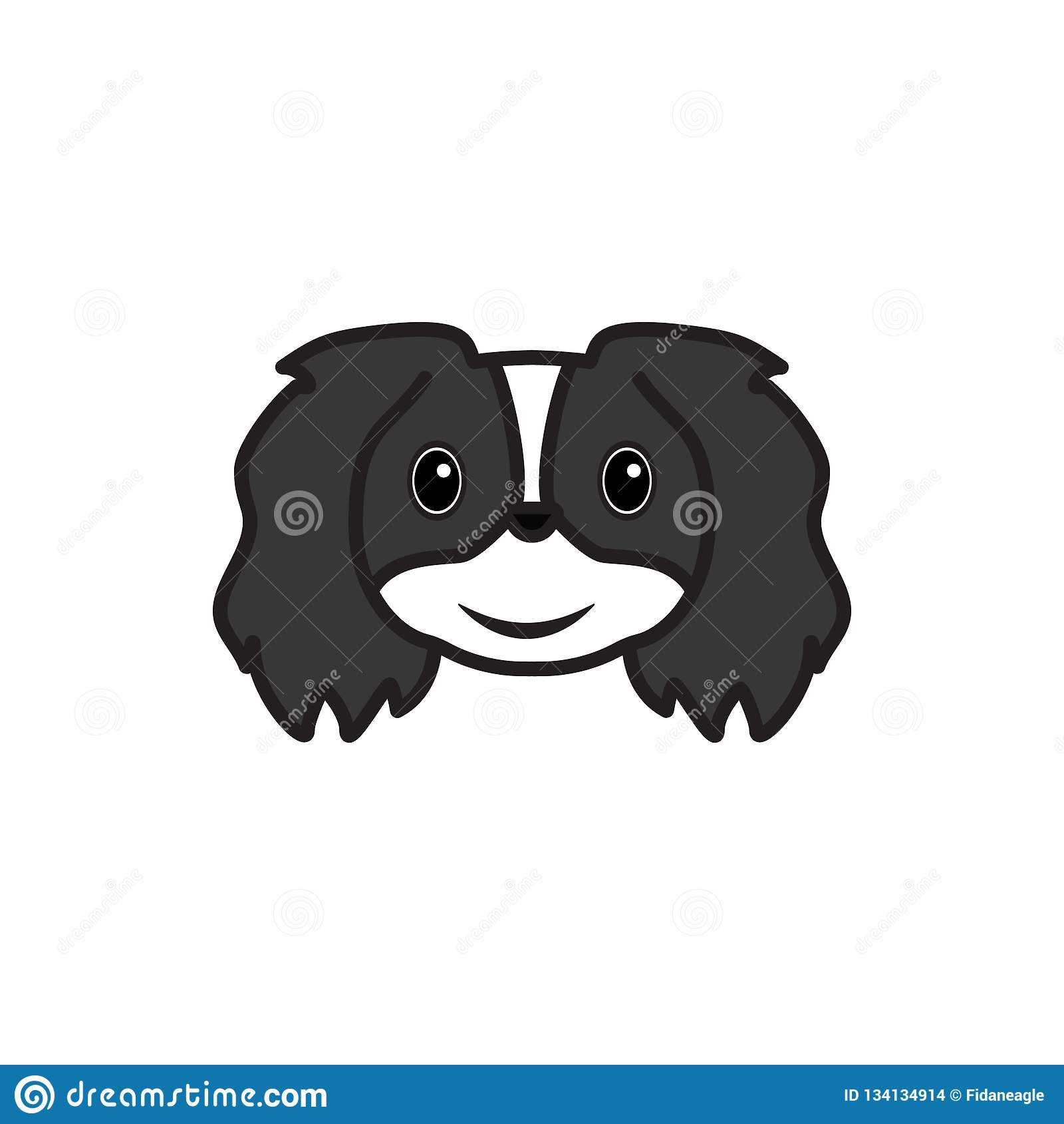 Pekingese, Emoji, Slightly Smile Face Multicolored Icon  Signs And