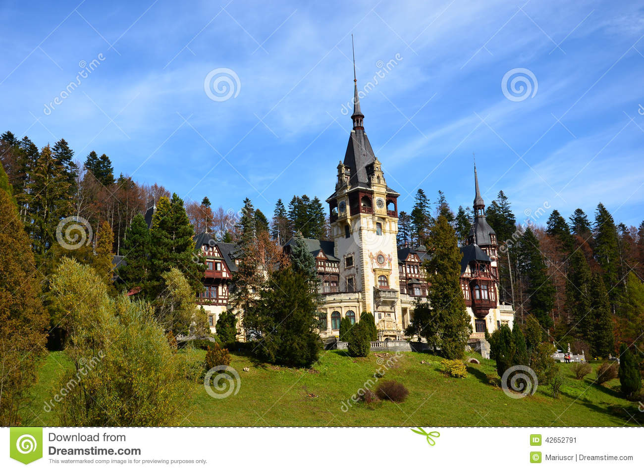Peles castle sinaia stock photo image 42652791 - Most beautiful manors romania ...