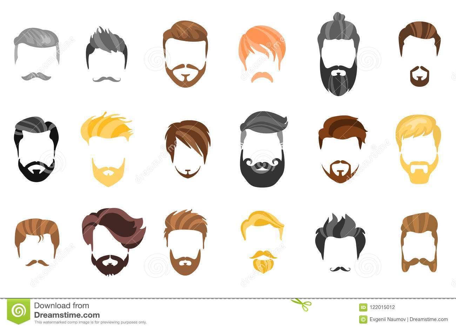 Pelo, barba y cara, pelo, colección plana de la historieta del recorte de la máscara Vector el peinado, el ejemplo, la barba y el