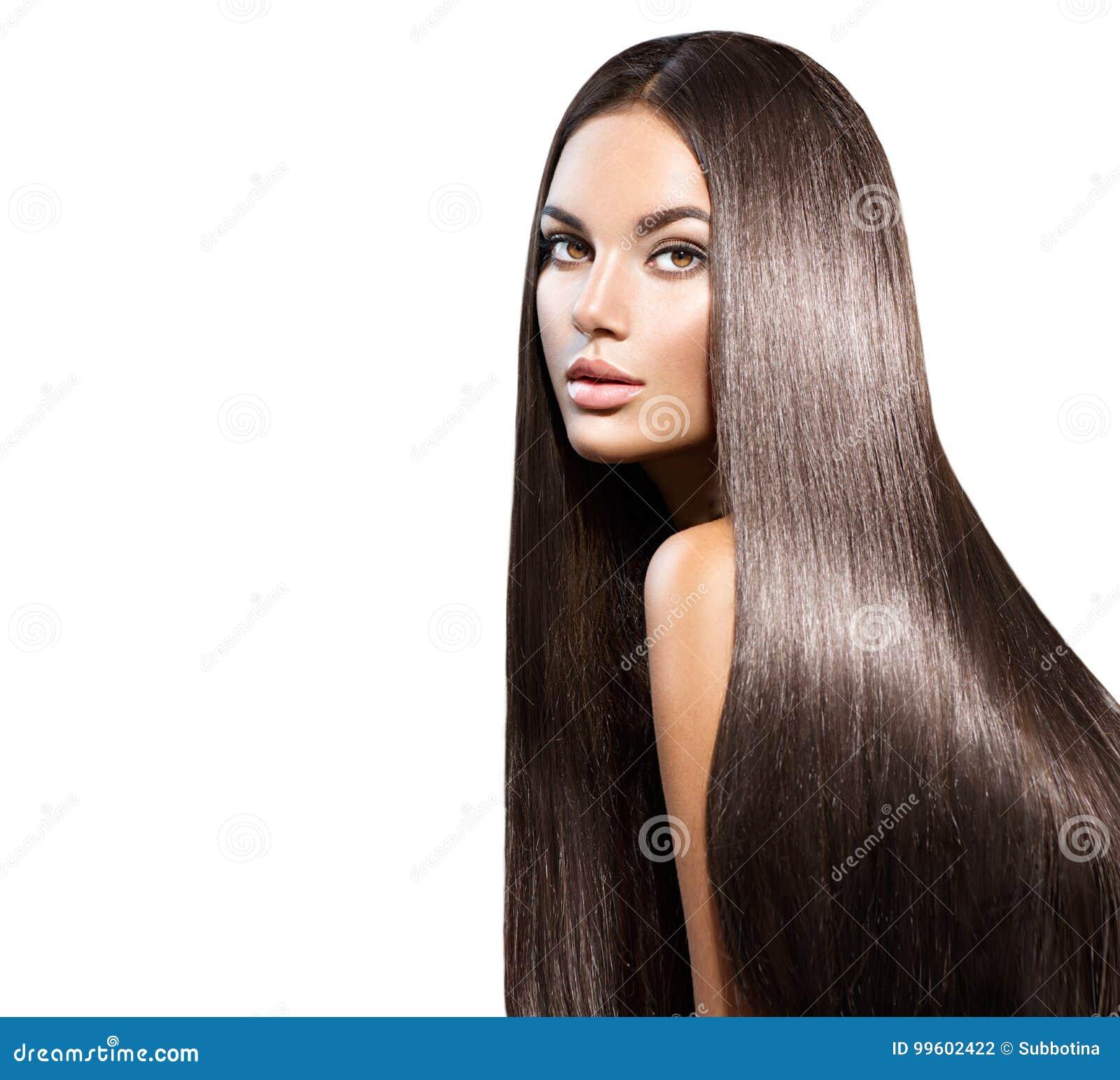 Pelo largo hermoso Mujer de la belleza con el pelo negro recto