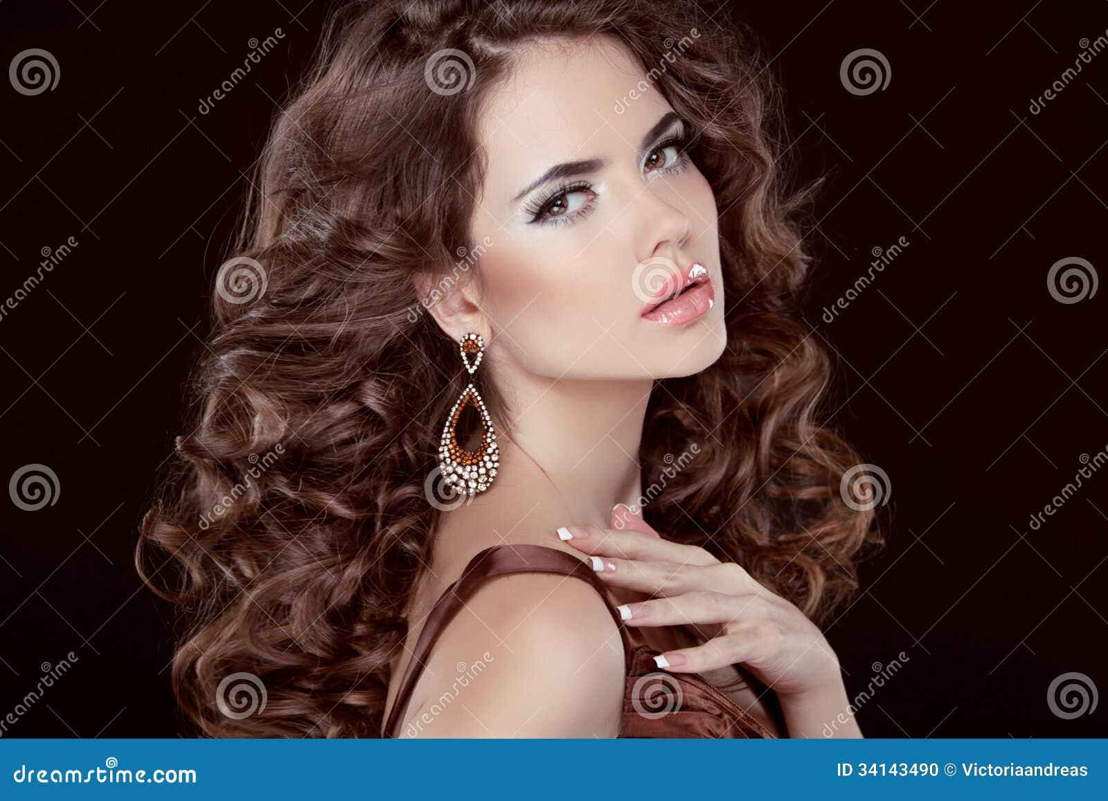 Pelo Ondulado Mujer Morena Atractiva Hermosa Pelo Largo