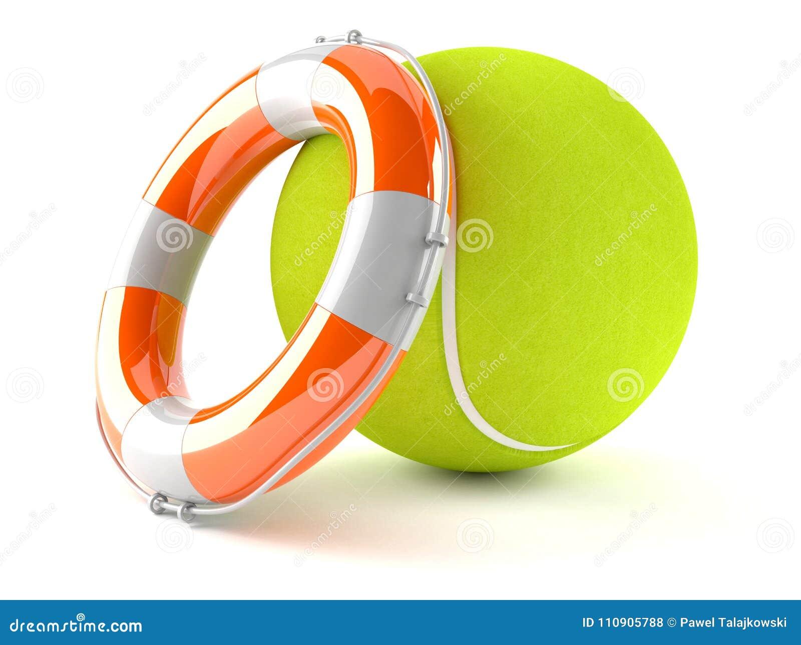 Pelota De Tenis Con La Boya De Vida Stock De Ilustracion
