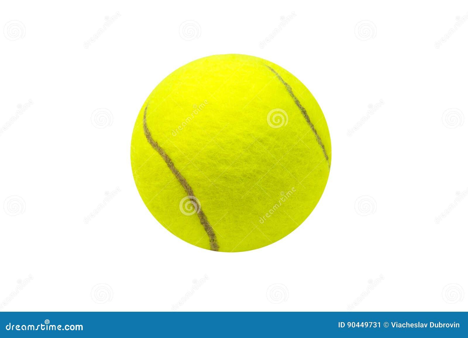 Pelota De Tenis En El Fondo Blanco Aislada Bola Del Tennis Fieltro Amarillo