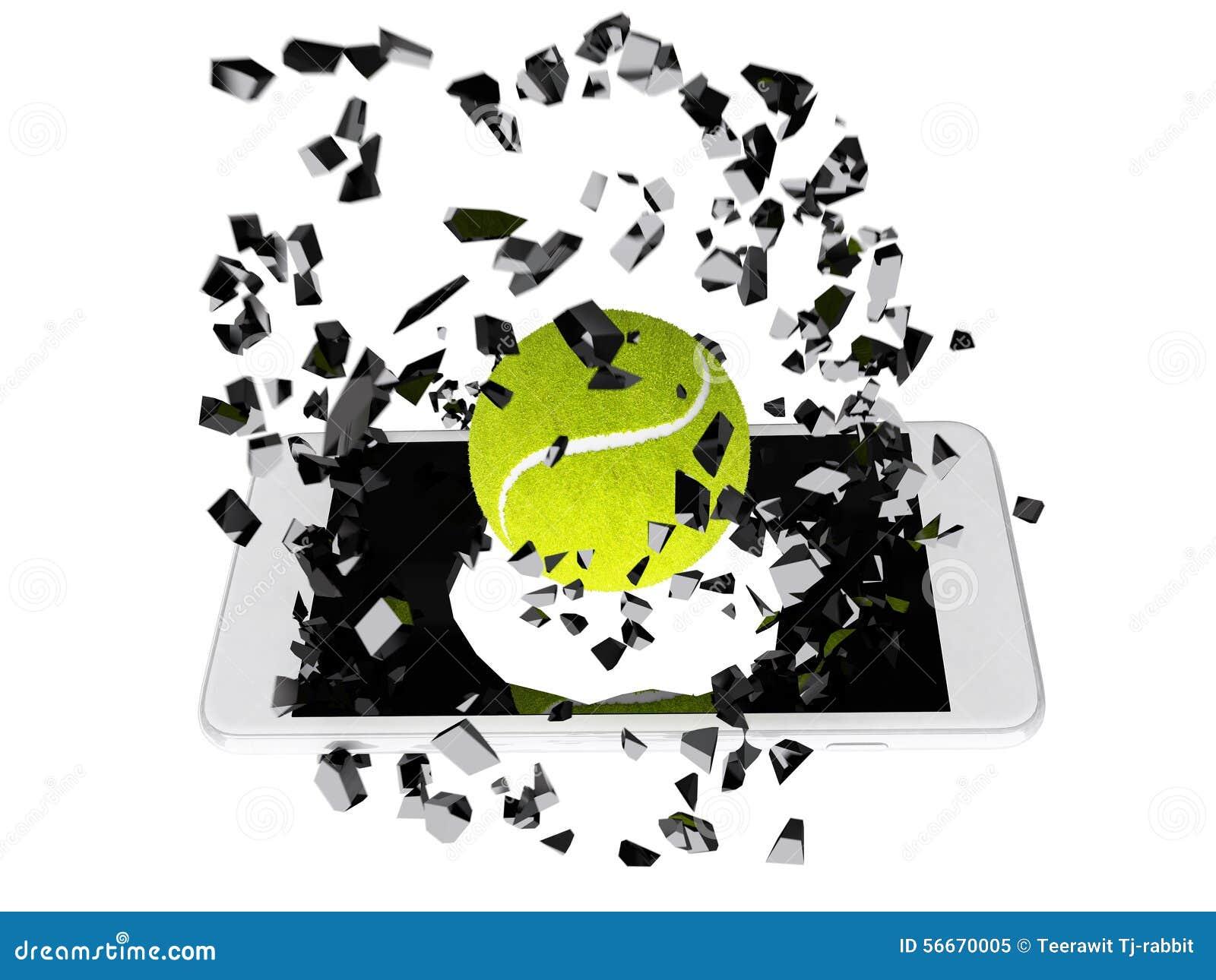 Tenis pelota stock de ilustracion ilustracion libre de stock de - Pelota De Tenis Estallada Fuera Del Smartphone