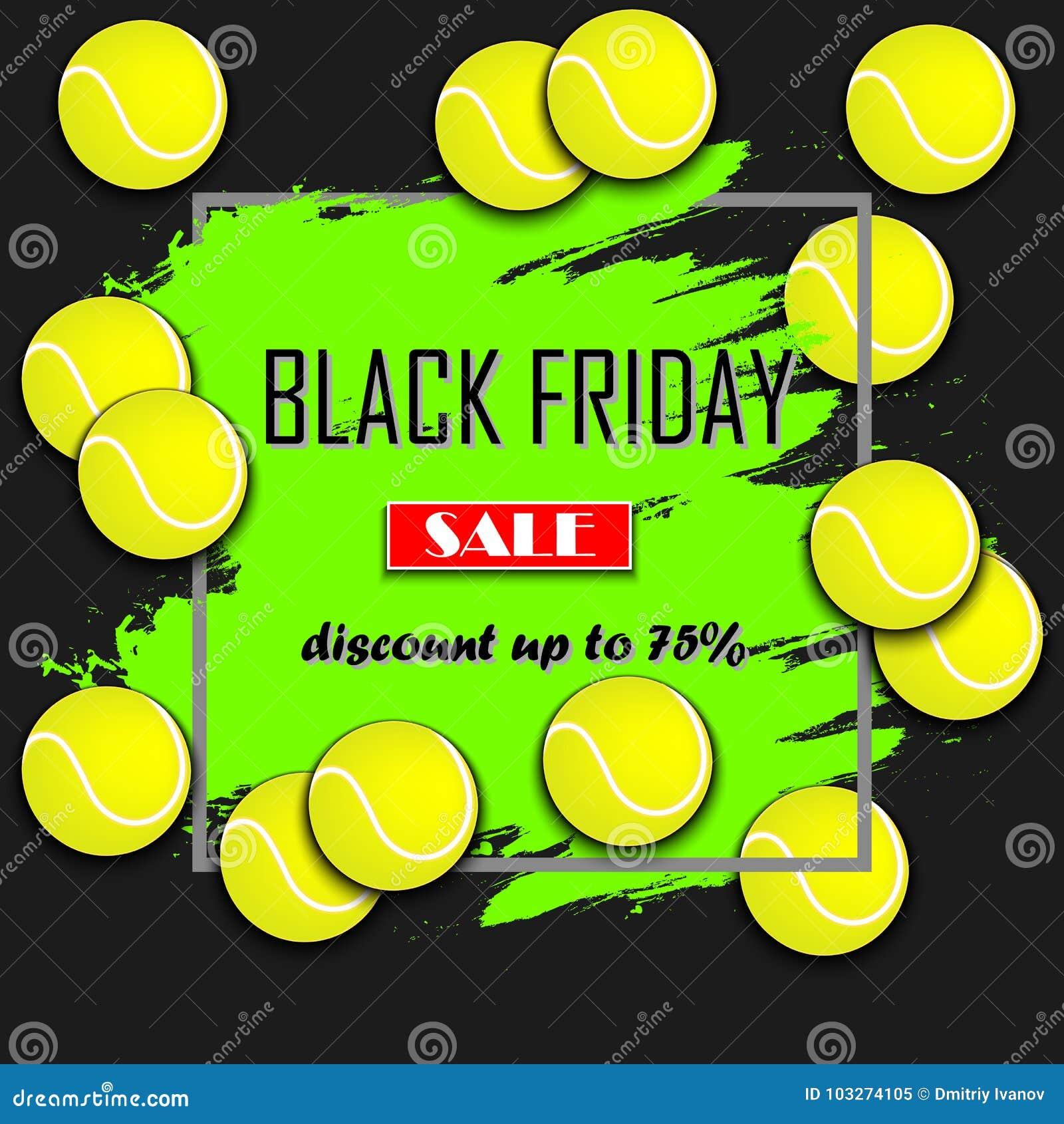 eb2ae4513a Bandera negra de viernes Plantilla de la inscripción de la venta de Black  Friday y pelota de tenis Ilustración del vector