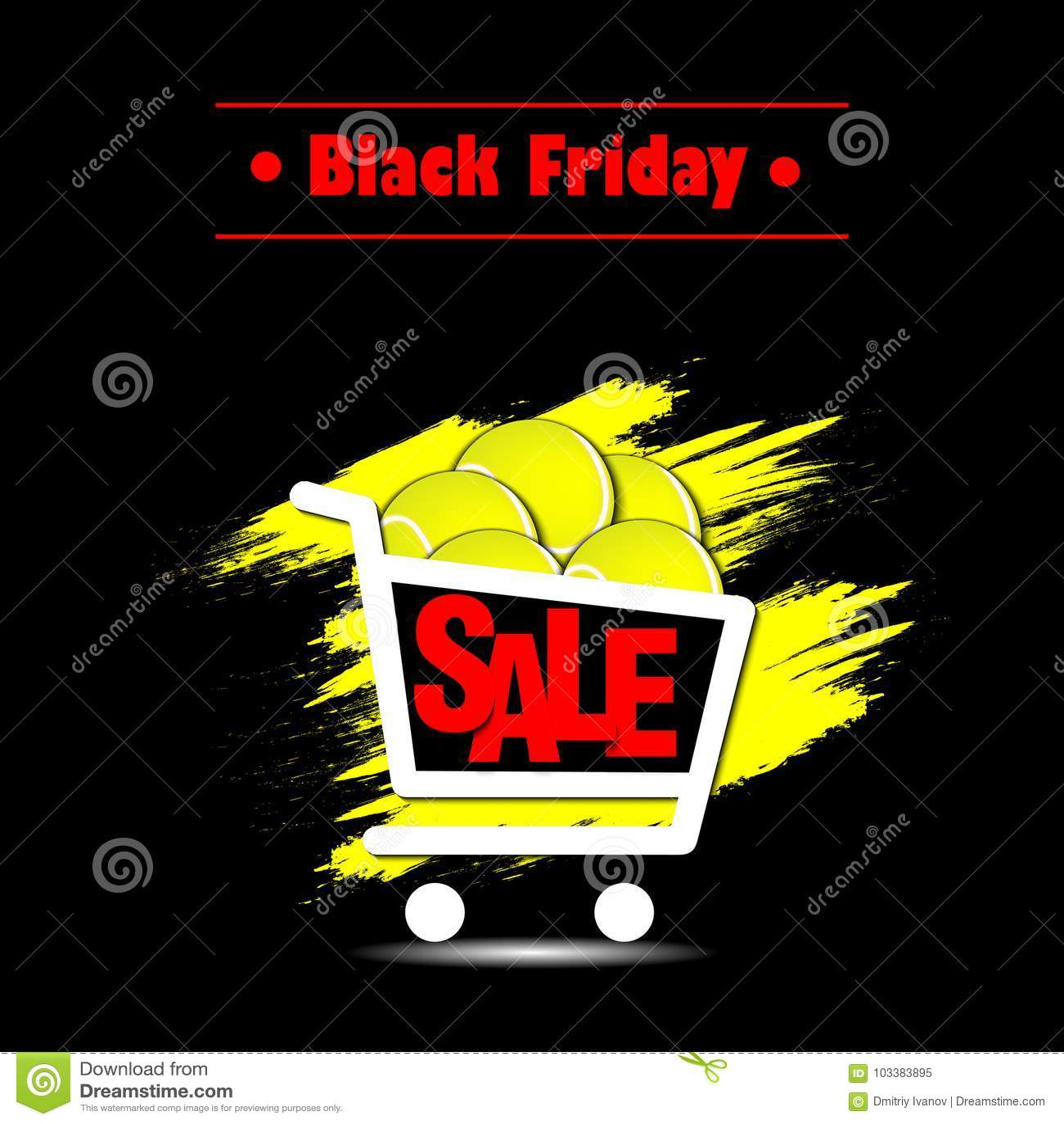 4299954eed Bandera negra de viernes Plantilla de la inscripción de la venta de Black  Friday y cesta de pelota de tenis Ilustración del vector