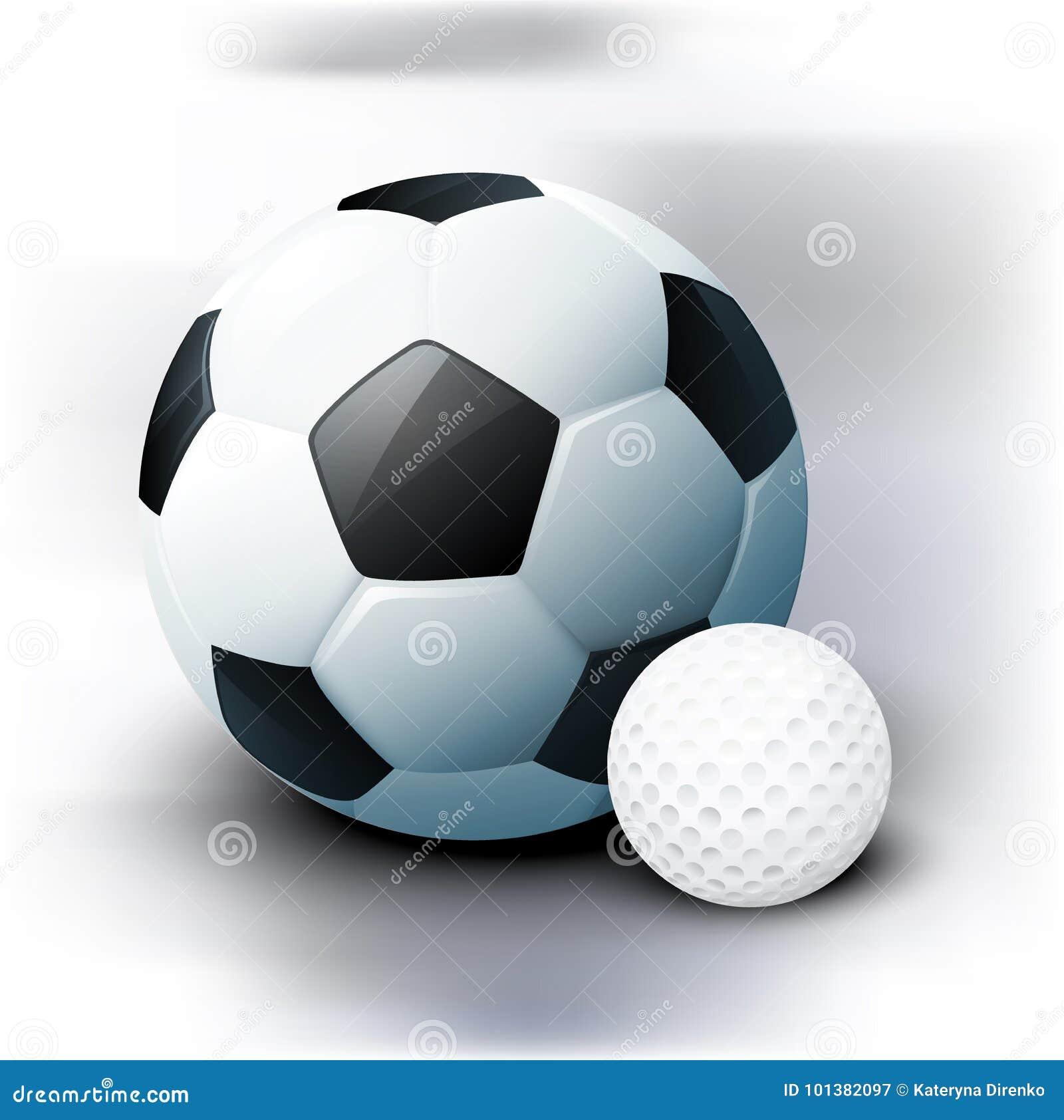 fdb16f4fb220f Pelotas de golf del fútbol y en un estilo realista Elemento para su cartel