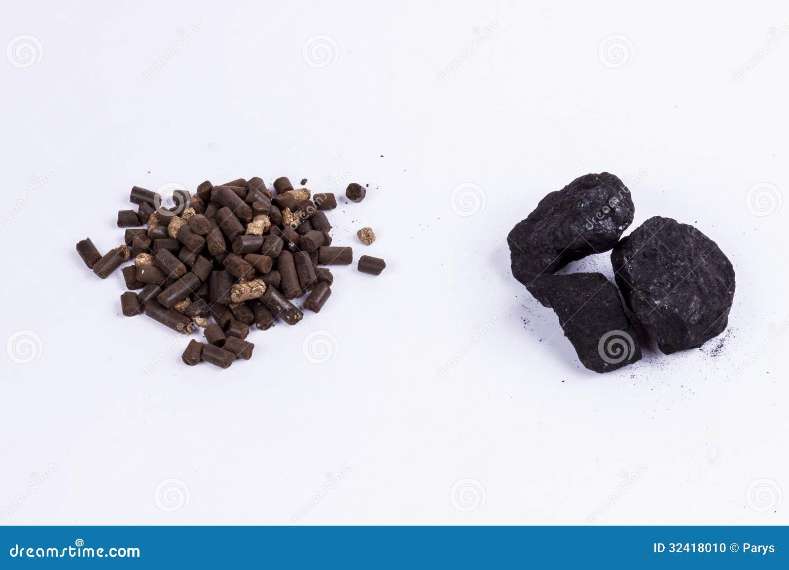 Pelotilla del carbón y de la biomasa - fondo blanco.