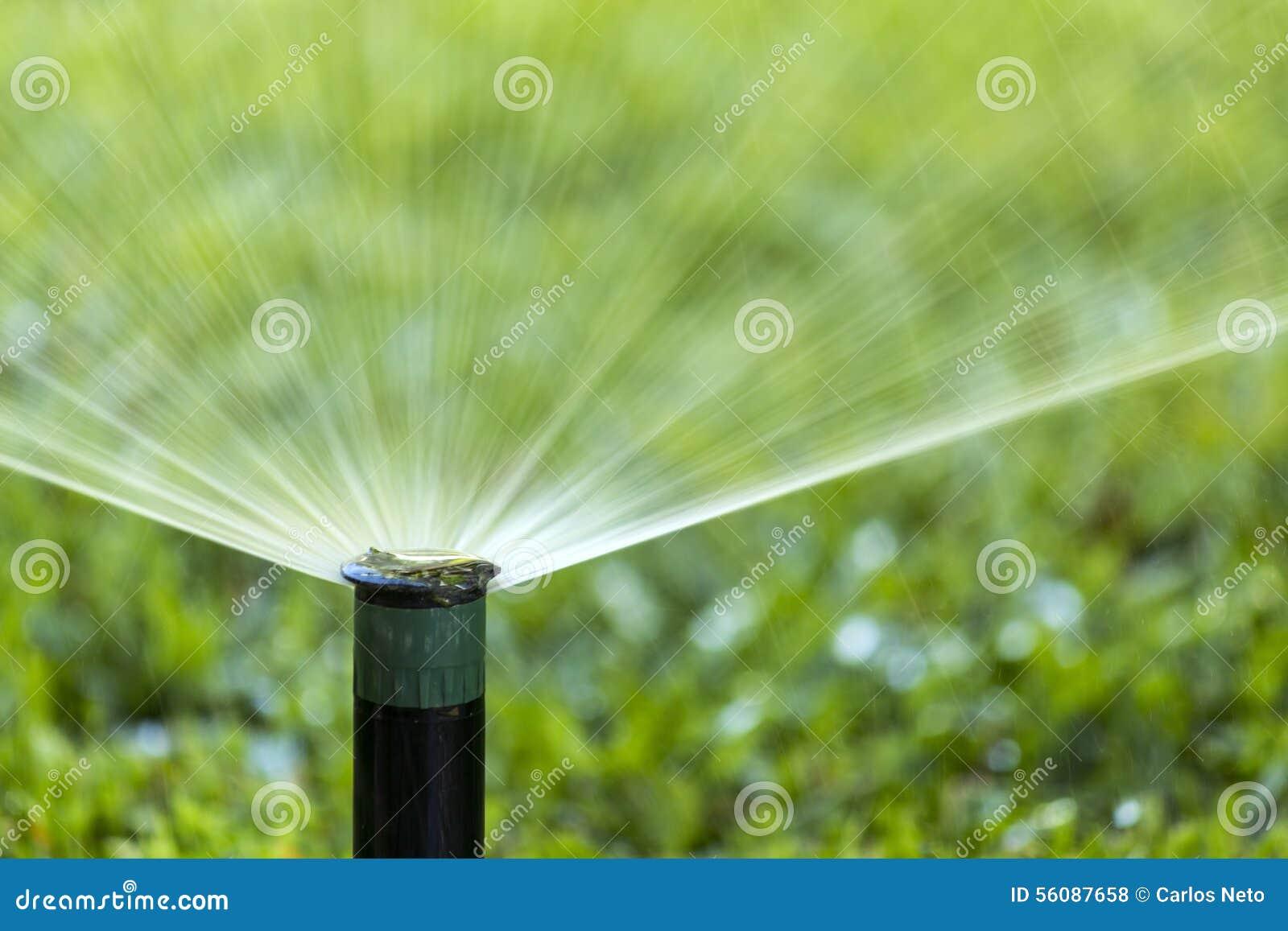 pelouse de arrosage de jet de syst me d 39 irrigation de jardin photo stock image 56087658. Black Bedroom Furniture Sets. Home Design Ideas