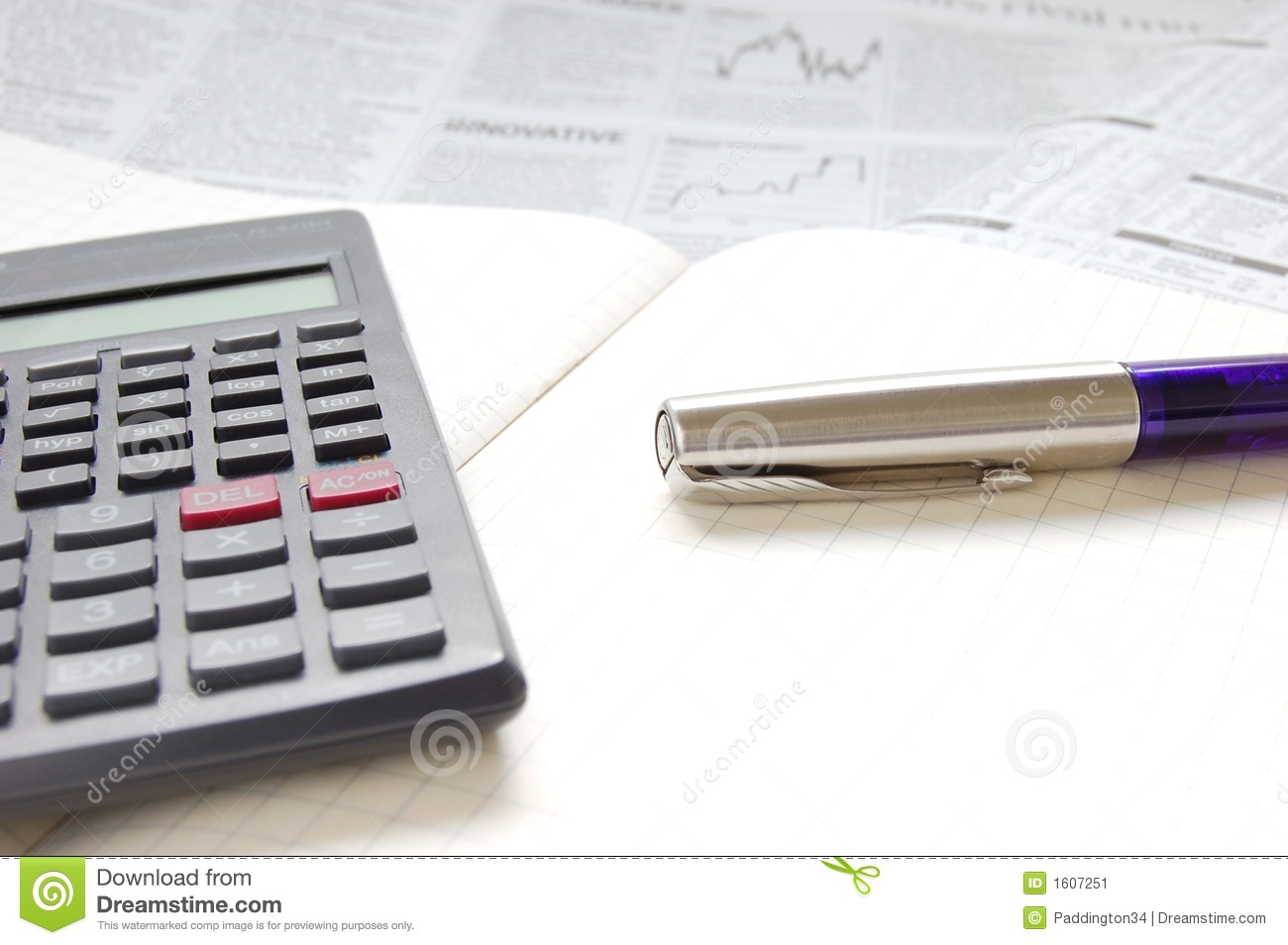 Pen, Calculator And Business Paper Stock Image - Image: 1607251