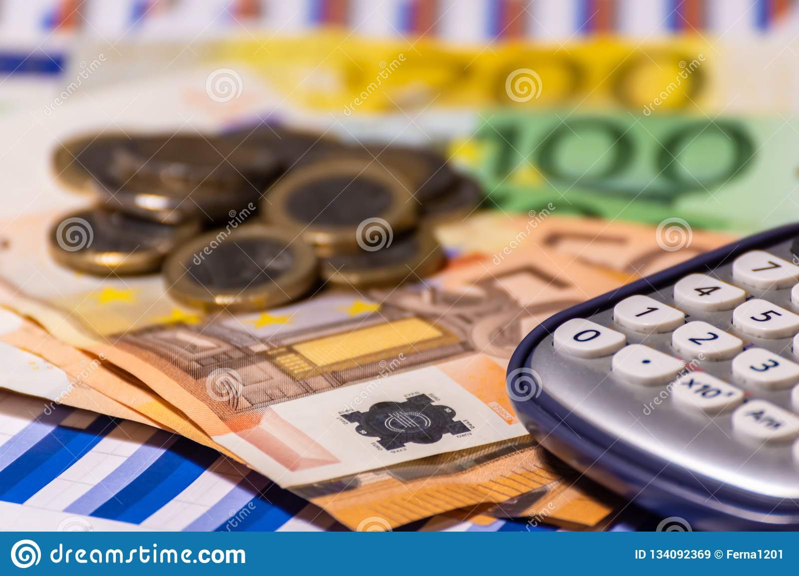 Pen, calculator , money , graph for finance and business concept