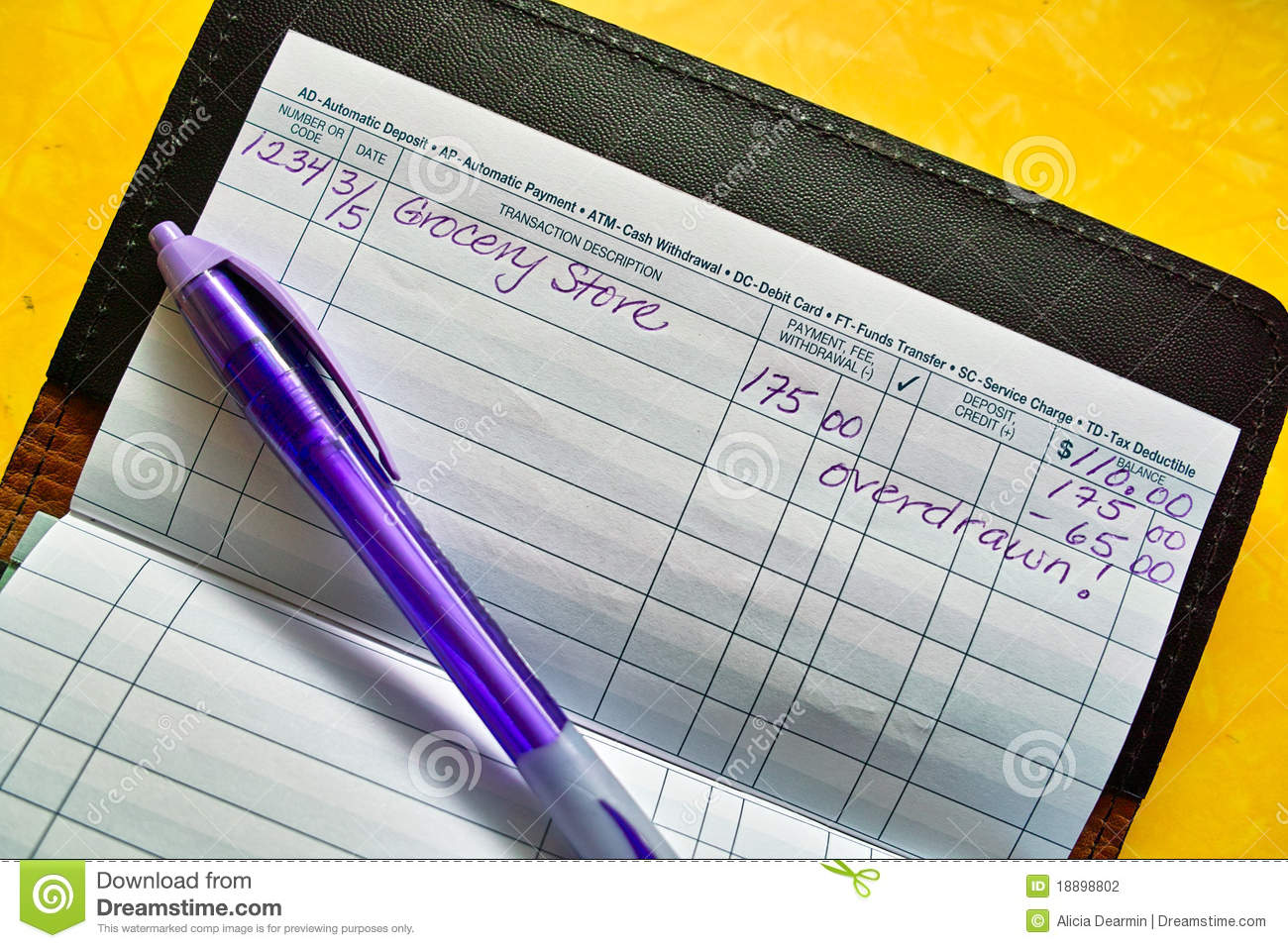 Royalty Free Stock Photo. Download Pen And Checkbook Register ...