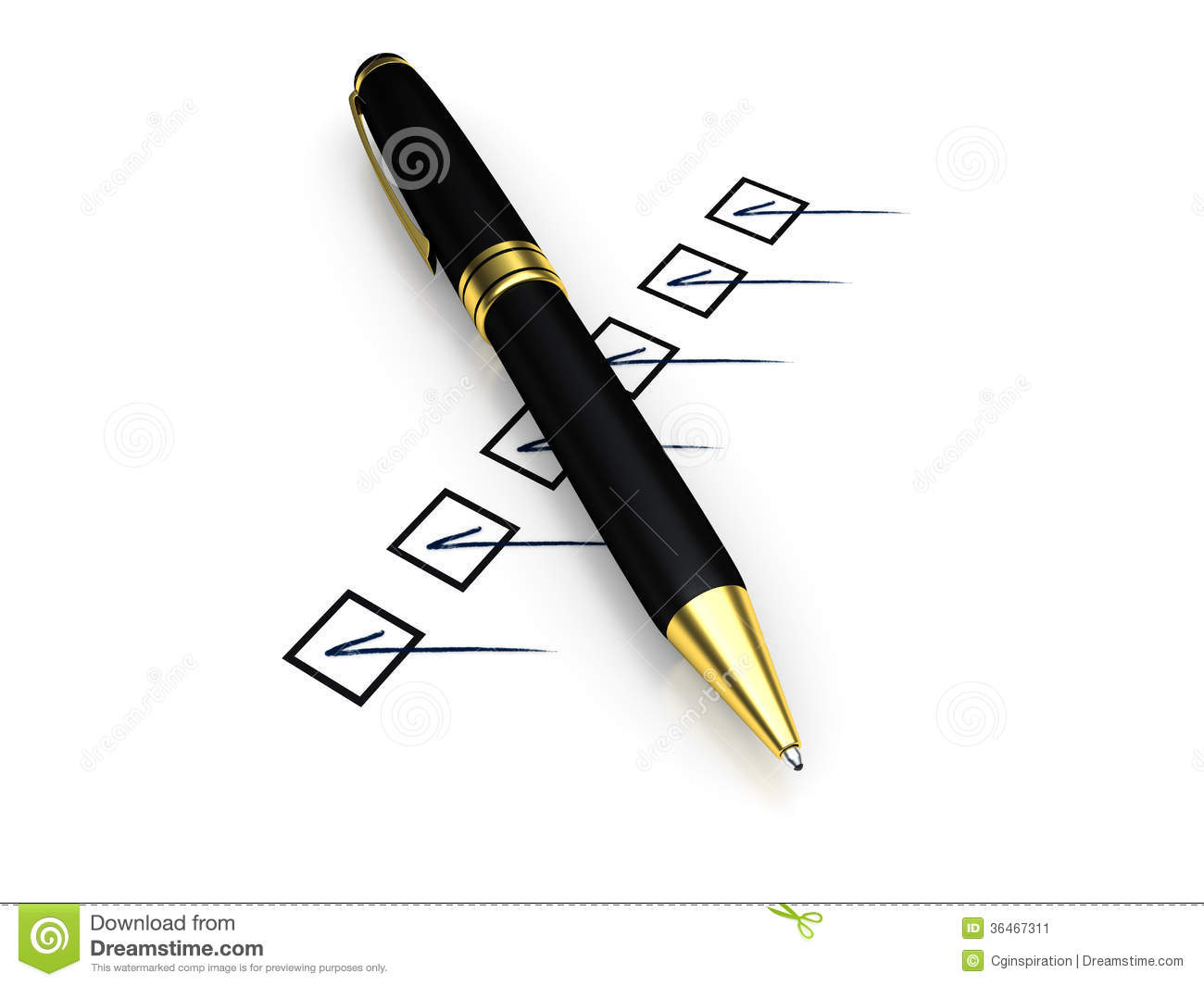 Pen And Checklist Stock Image - Image: 36467311