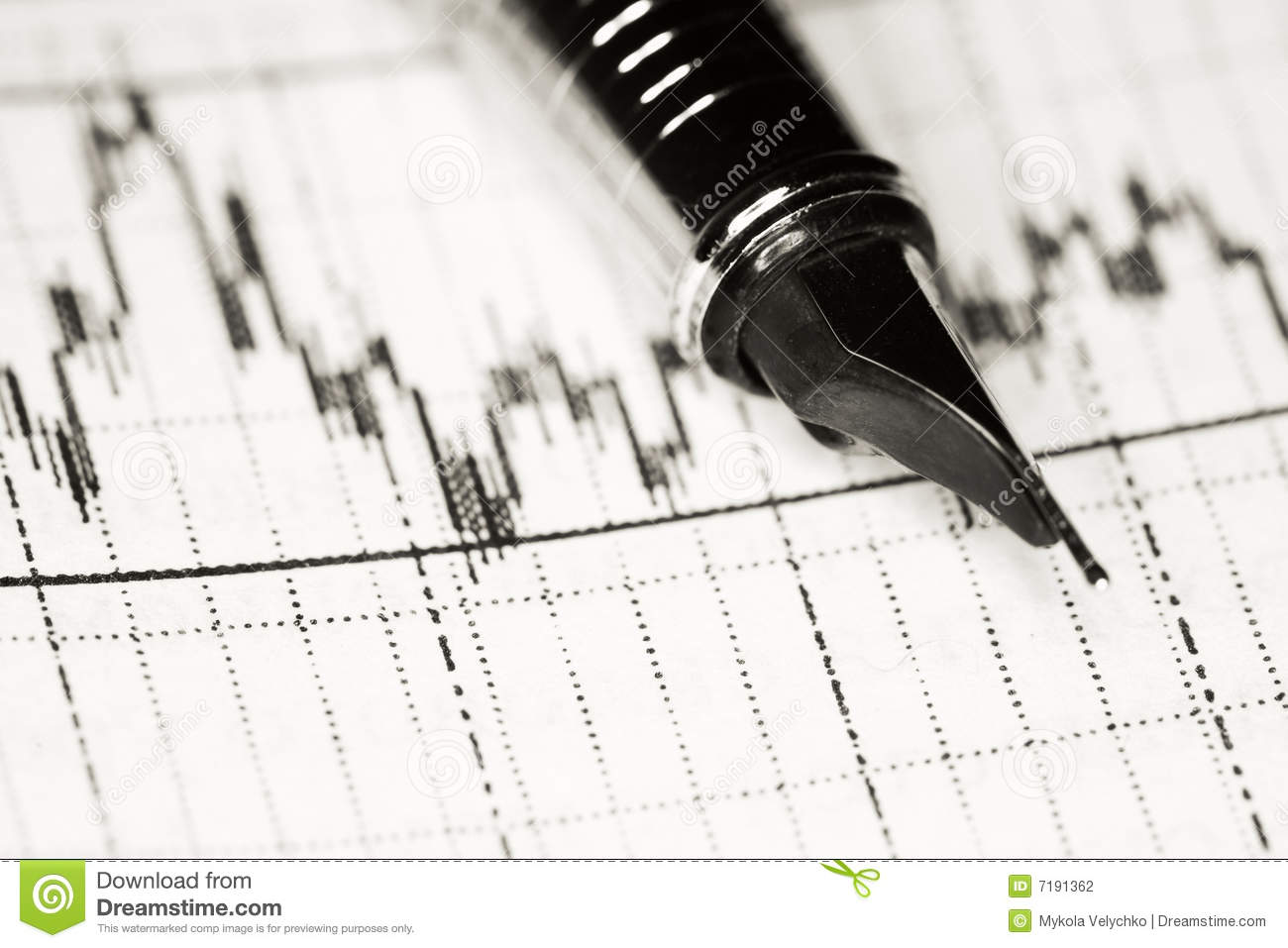 Pen And Diagram Stock Photography