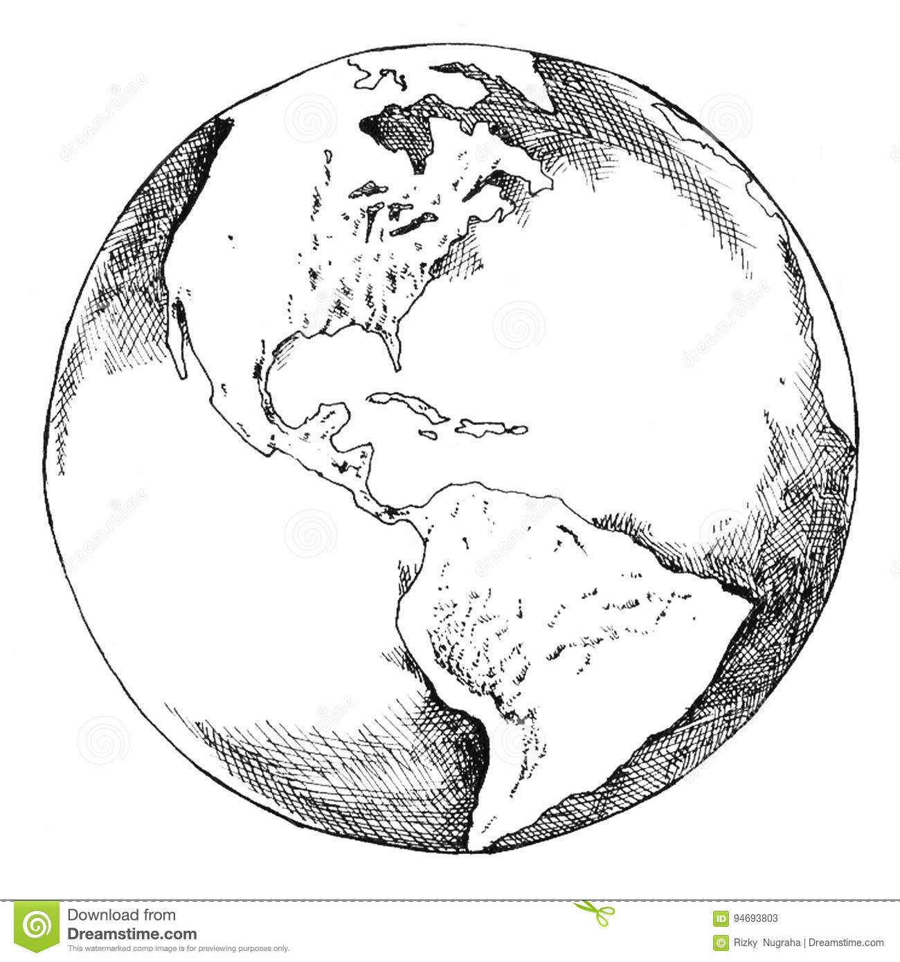 pen drawing globe earth stock illustratie  illustratie