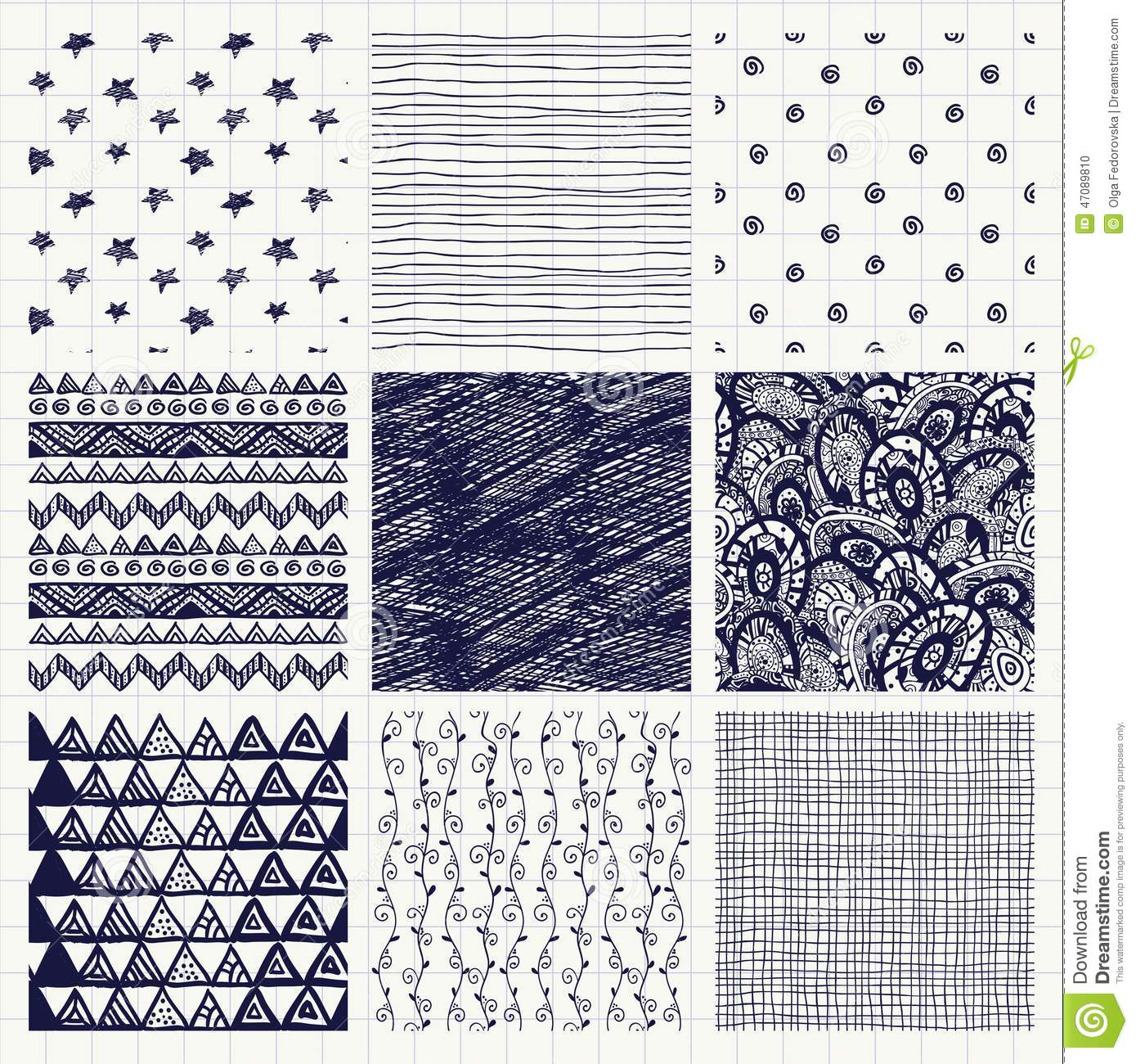 Pen Drawing Seamless Textures Stock Vector Image 47089810