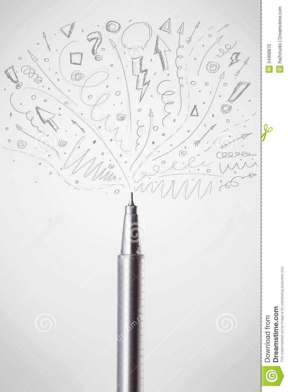 Drawing Lines With Arrows In Photo : Pen drawing sketchy arrows royalty free stock photo