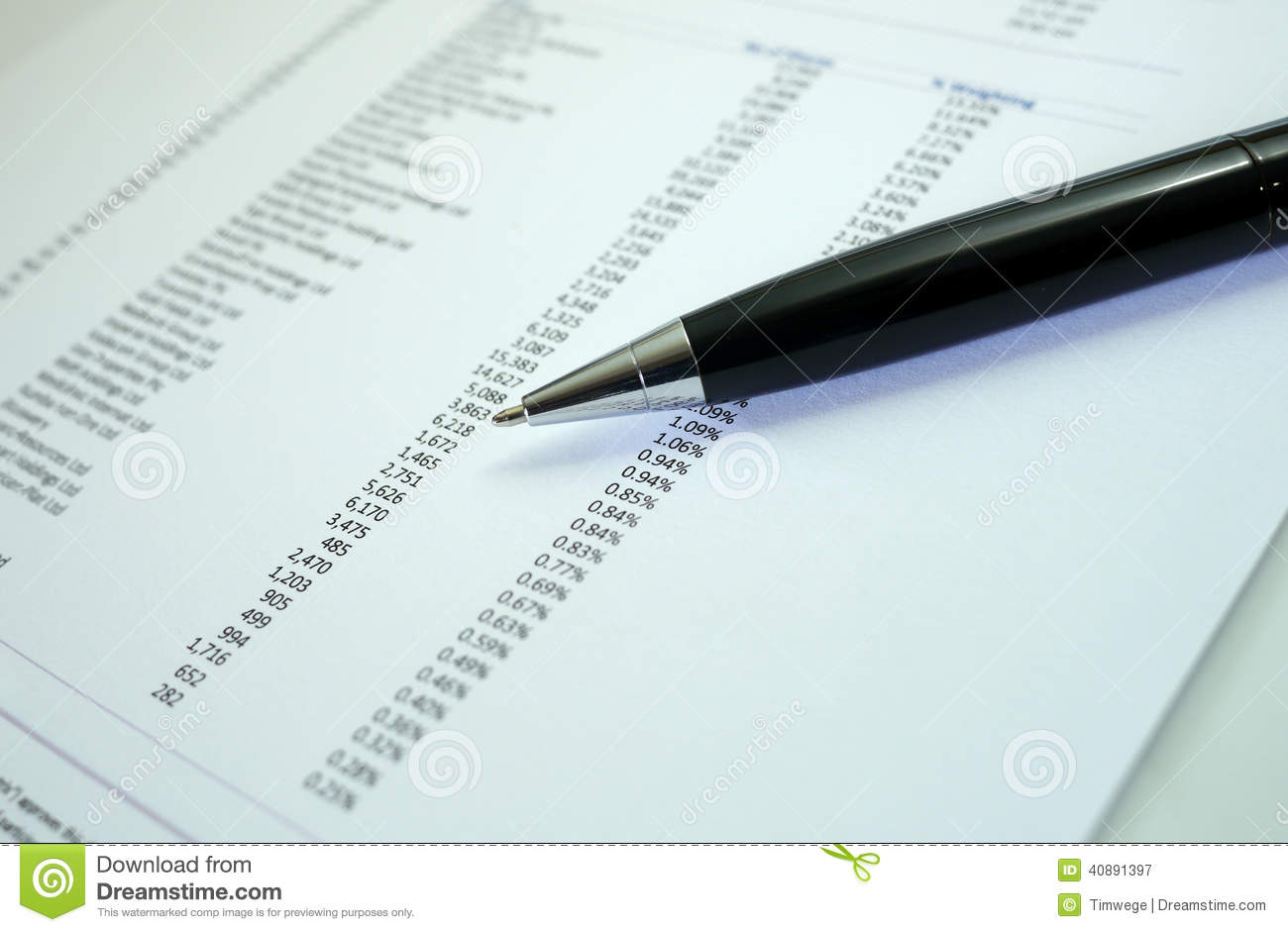 Pen and graph on financial figures