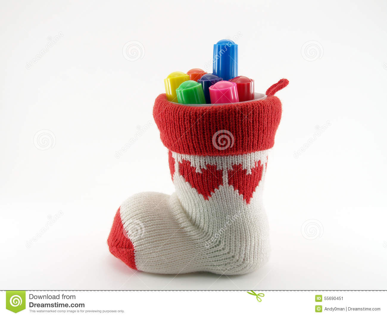 pen holder made of knitted yarn sock with red heart pattern and axis is a plastic cup with colorful color pen (felt tip