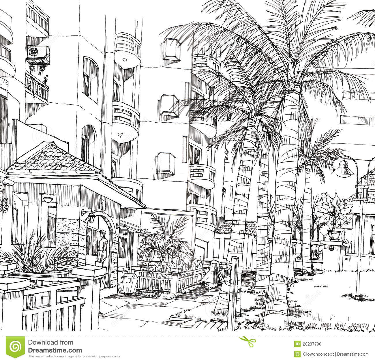 Line Art Architecture : Pen line drawing of architecture condominium stock