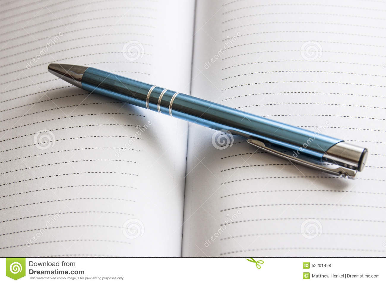 Pen on lined paper stock photo  Image of writing, stationary