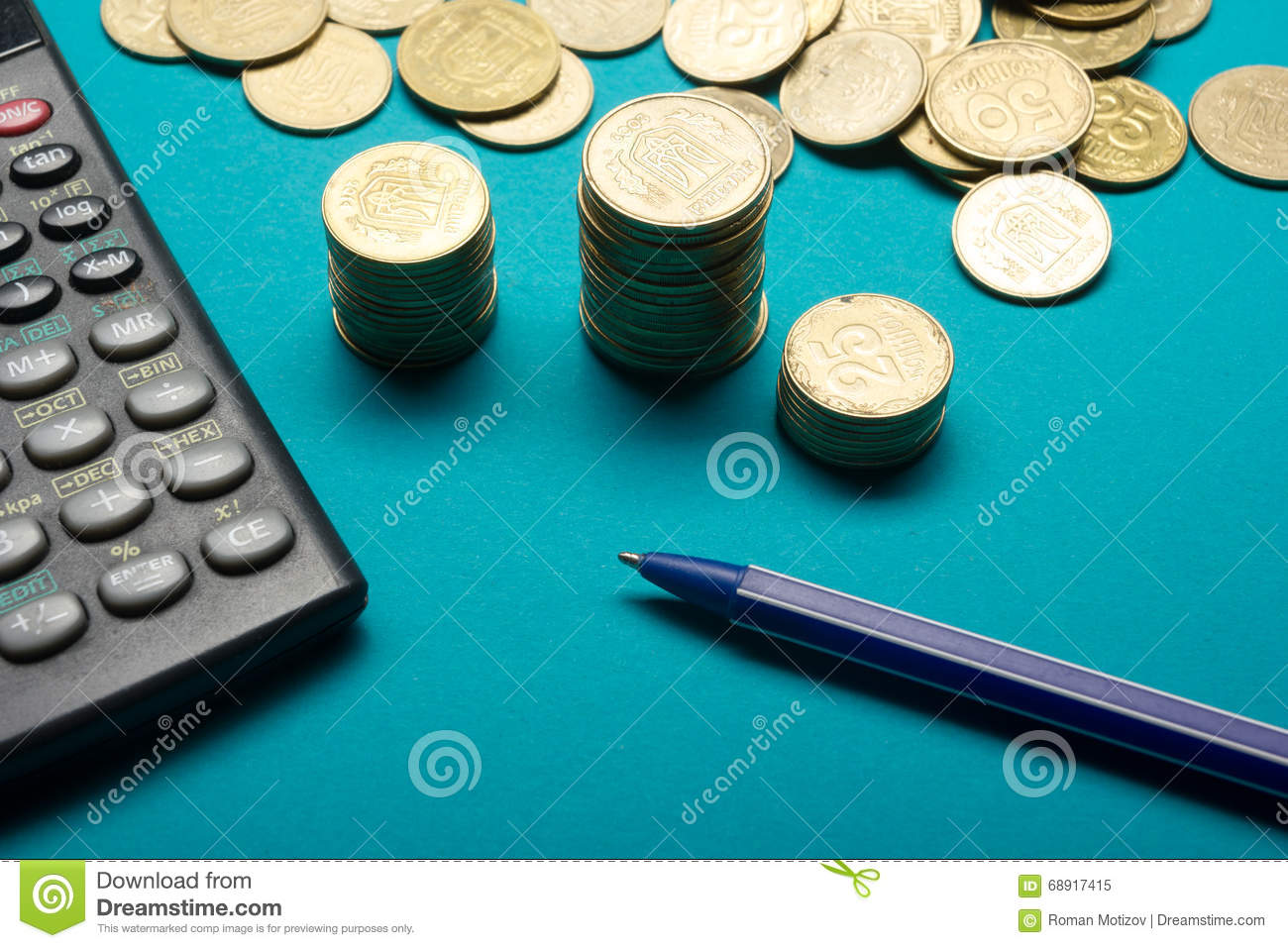 Pen, Money coins stack and calculator for finance concept