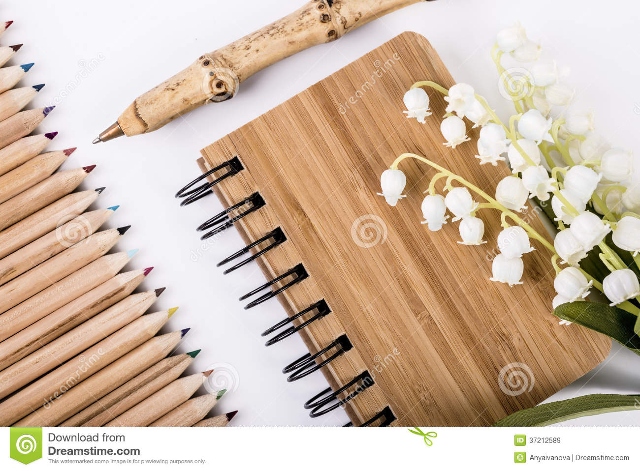 Pen And Notebook Made From Sustainable Bamboo Royalty Free
