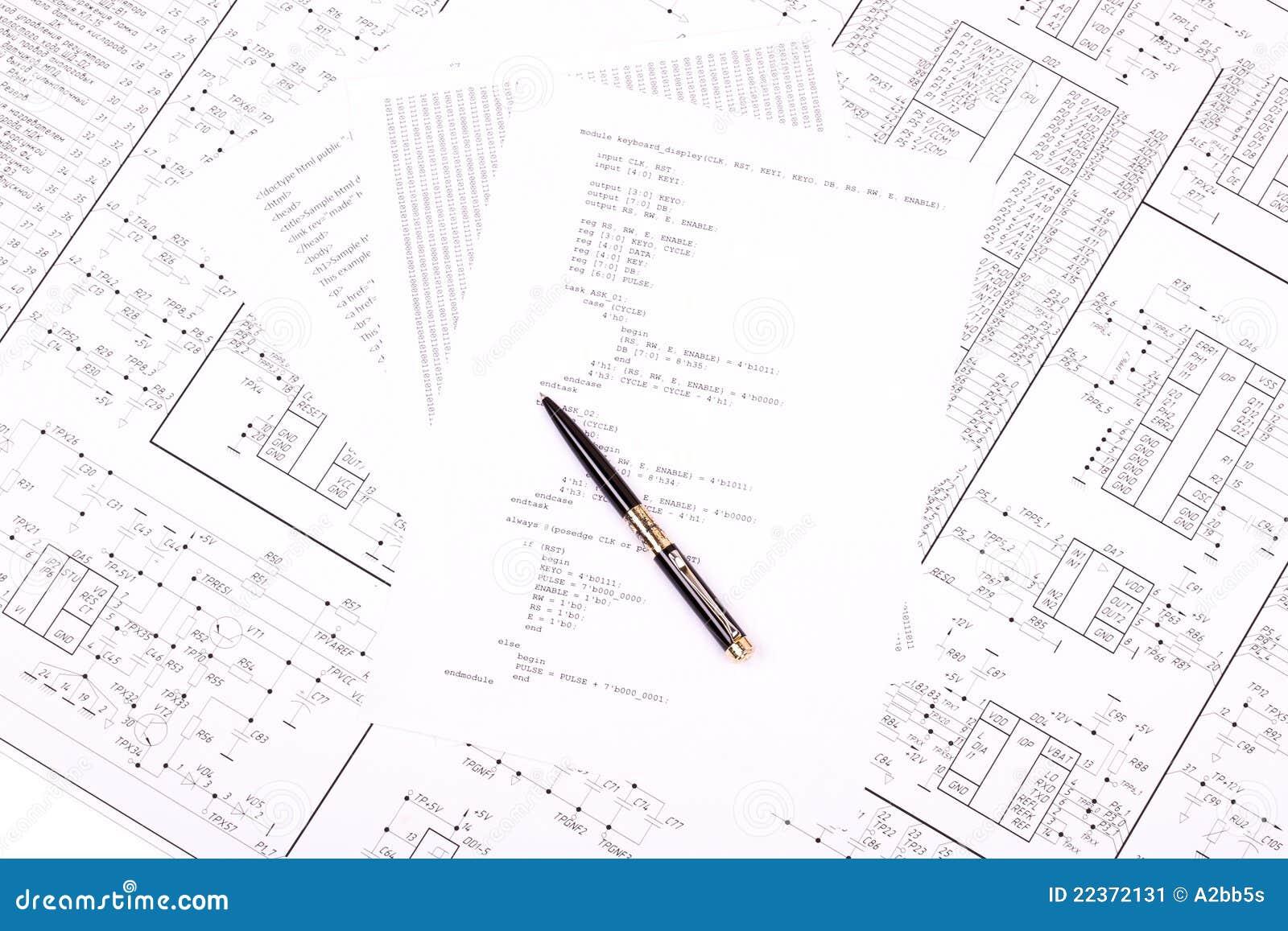 pen op papier met het programma stock afbeelding