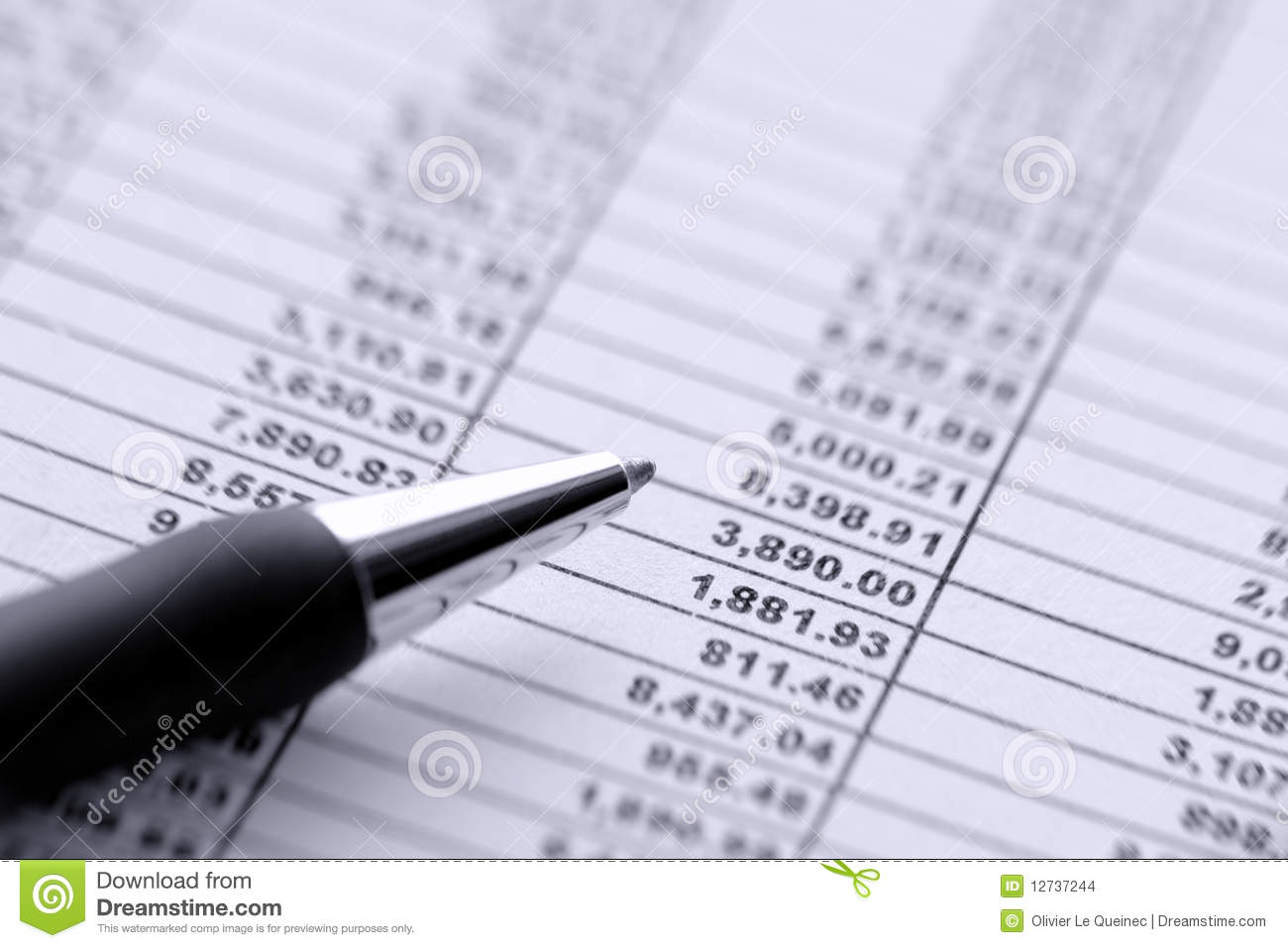 pen over dollar money budget financial spreadsheet stock
