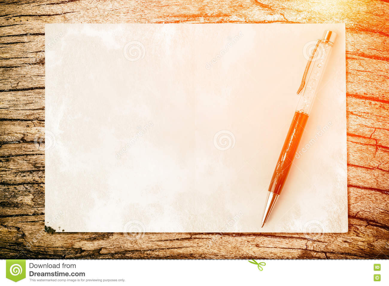 pen on paper texture background with light and flare