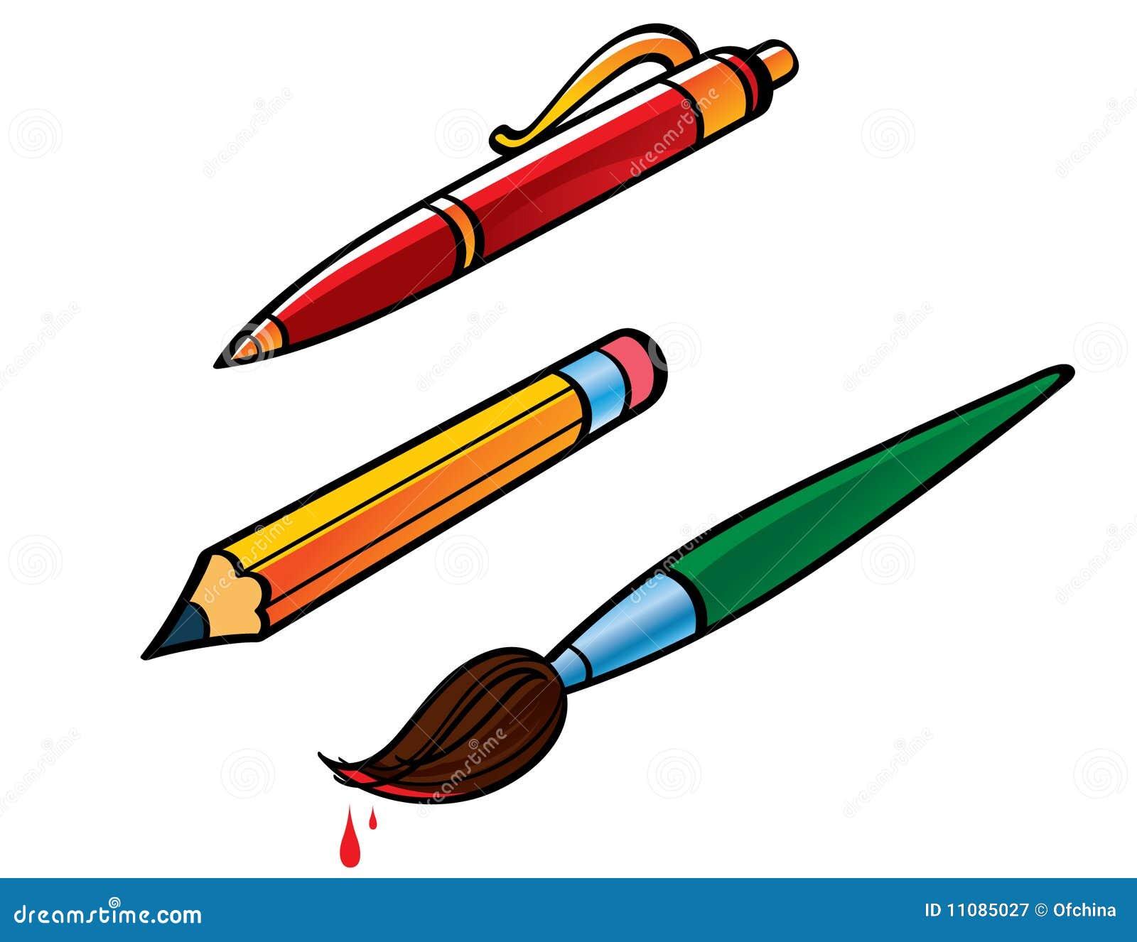 Pen Pencil Brush stock vector. Illustration of vector ...