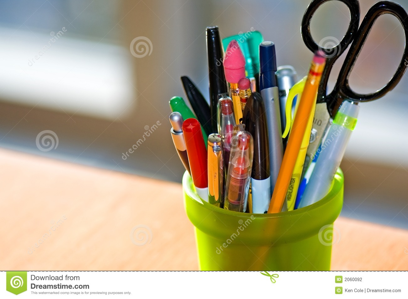 Pen And Pencil Holder On Desk Stock Photography Image