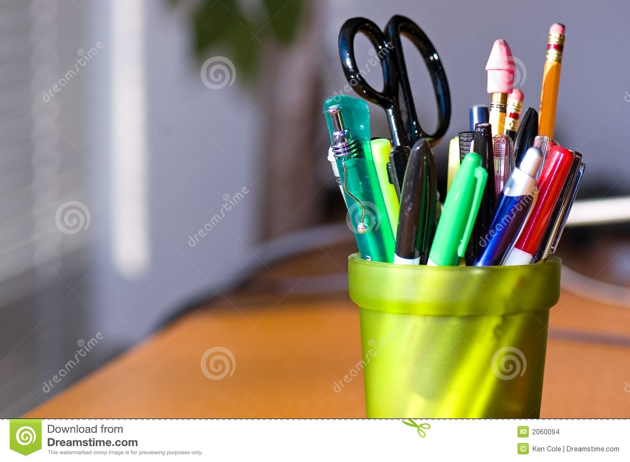 Pen And Pencil Holder On Desk Stock Images - Image: 2060094