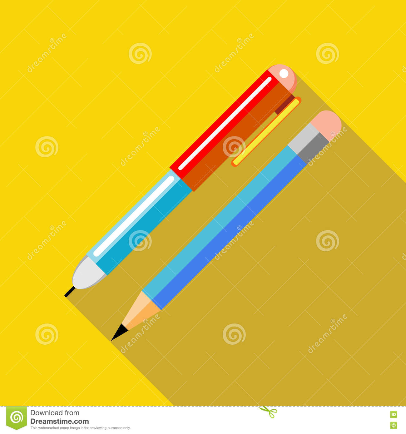 pen and pencil icon in flat style cartoon vector