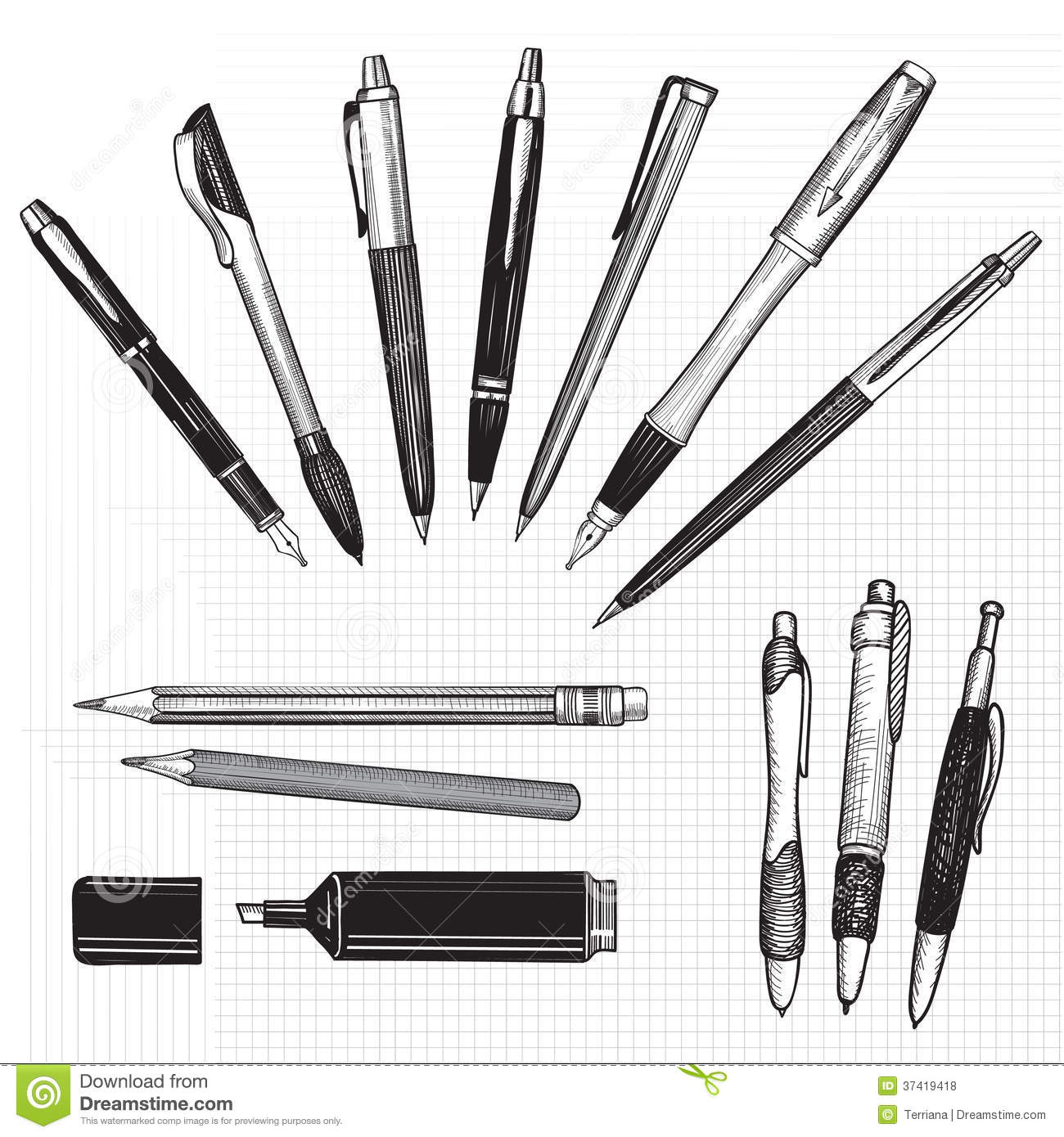 Pen pencil and marker sketch set over seamless paper background royalty free stock photo malvernweather Choice Image