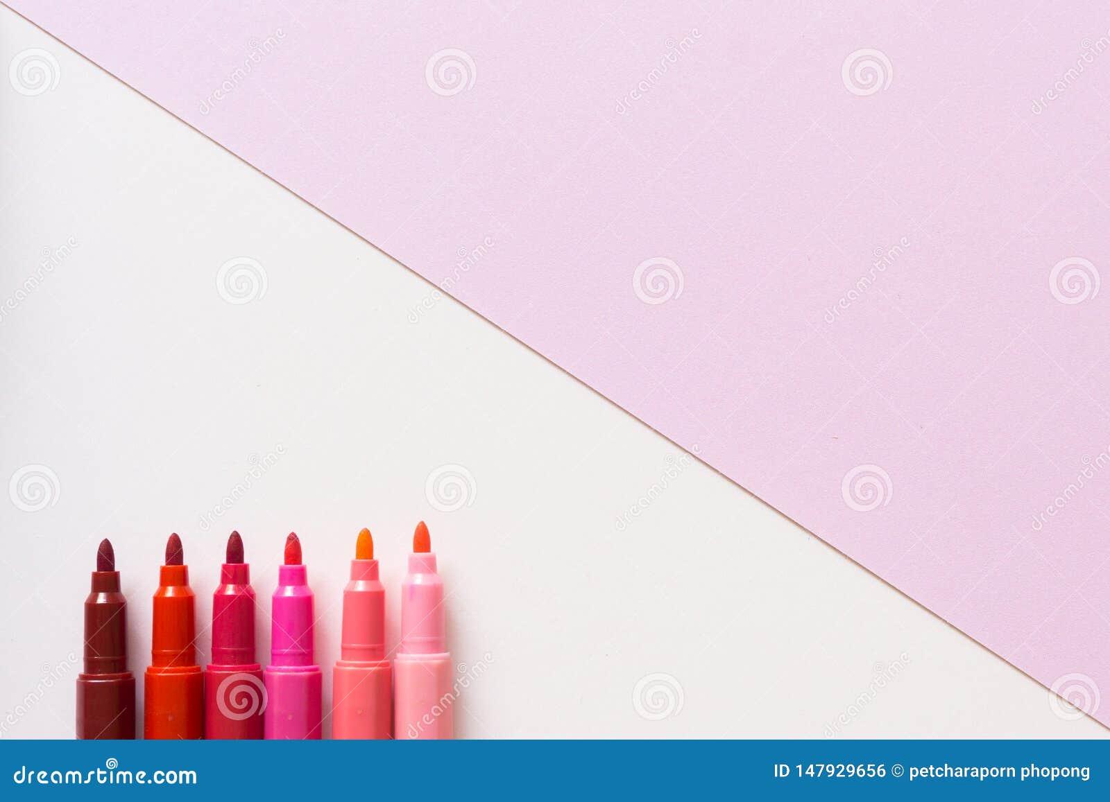 Pen pink on pastel pink color background