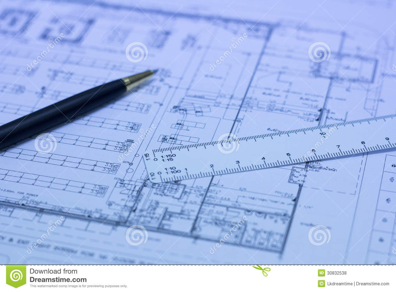 Pen scale ruler and blueprint royalty free stock photos for Blueprint scale