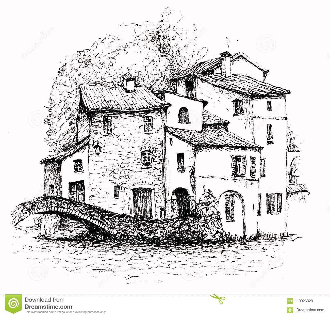 an ink sketch of italian landscape isolated on white background