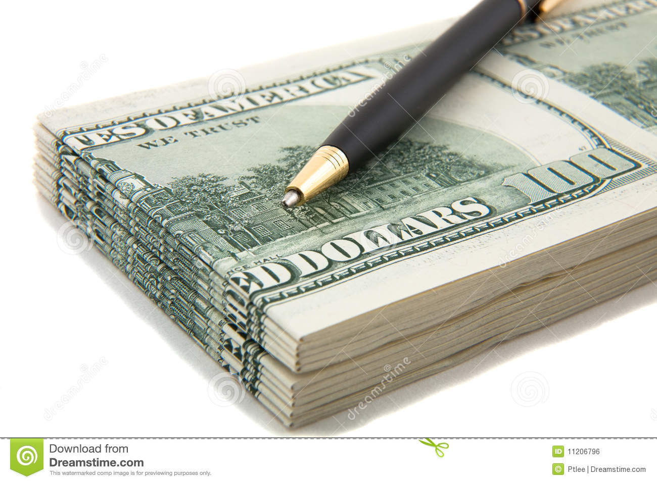Pen on top of a stack of cash