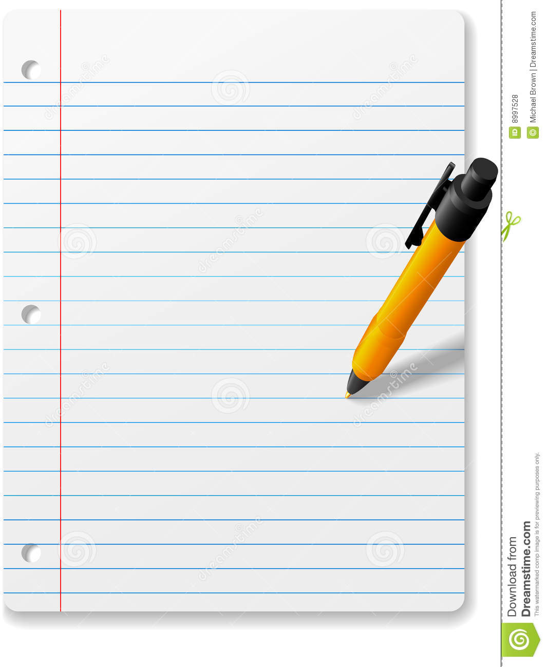 pen writing drawing on notebook paper background stock vector
