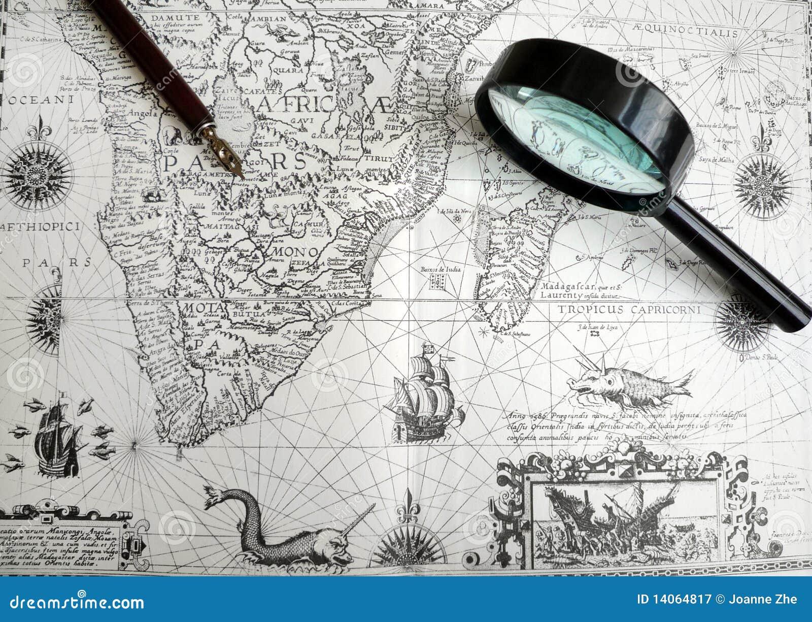 Pena antiga do mapa e do manuscrito