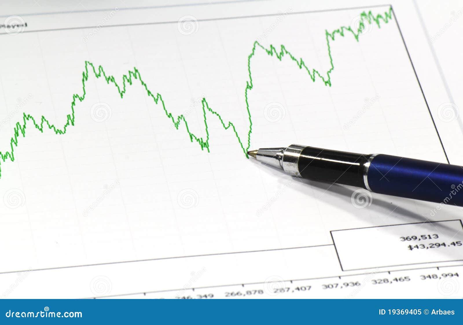 Pena azul e uma linha gráfico