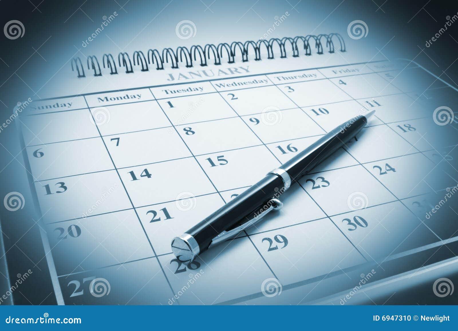 Pena de Ballpoint no calendário