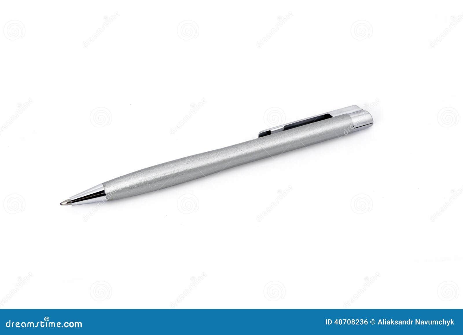Pena de esferográfica cinzenta isolada em um fundo branco