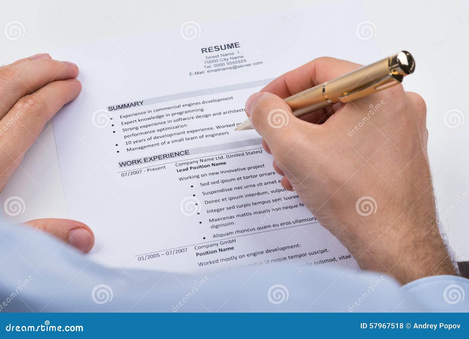 Pena de With Resume And do empresário