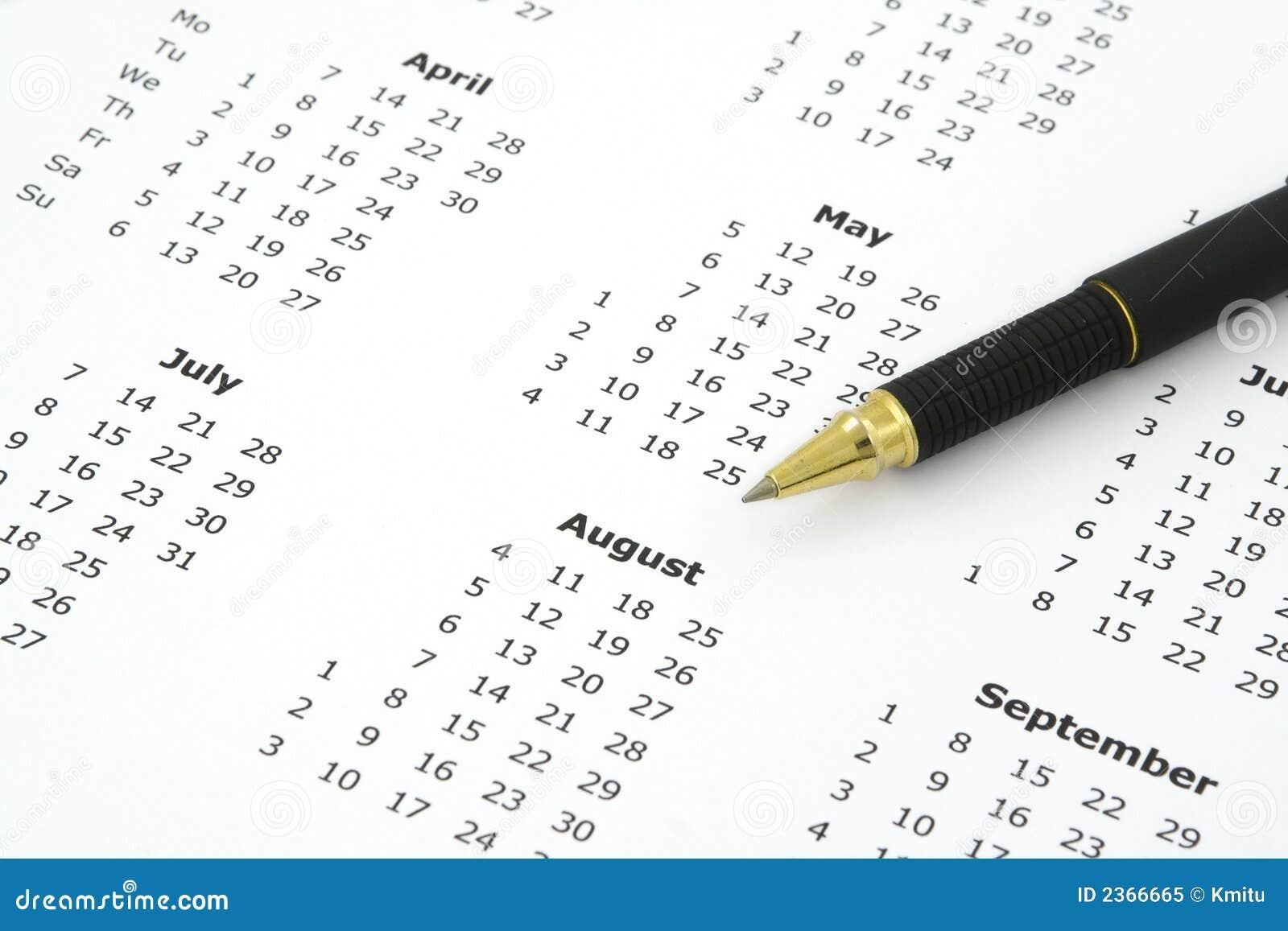 Pena do calendário e de ballpoint