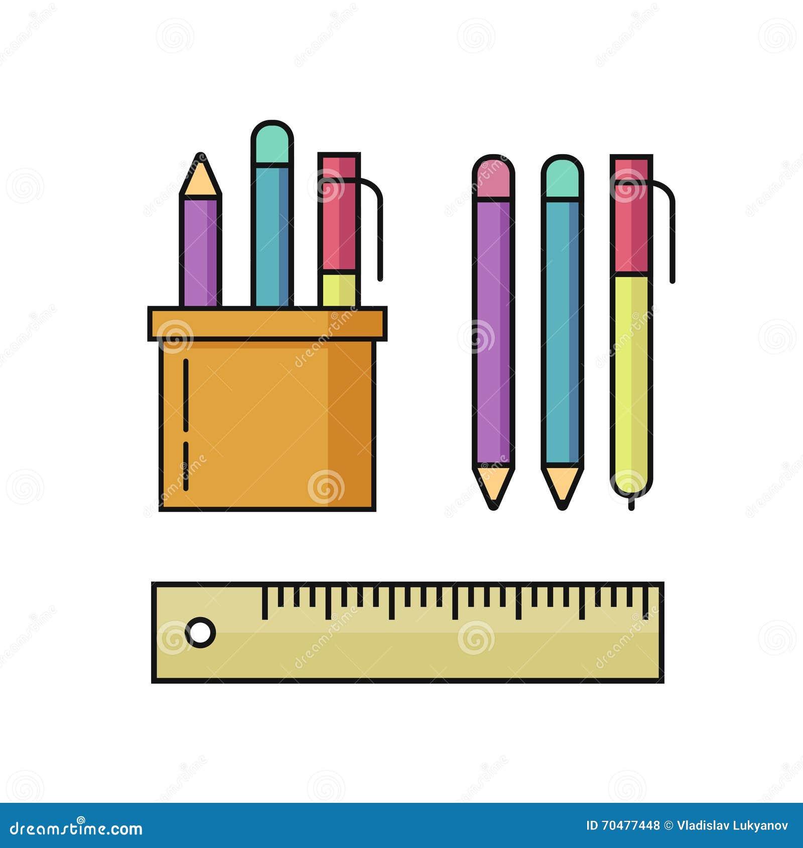 A pena e os lápis, ilustração do vetor da régua ajustaram-se no branco